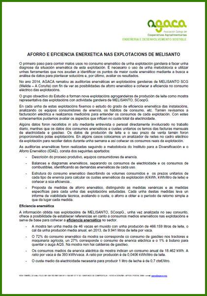 Aforro Enerxético en Melisanto 2014